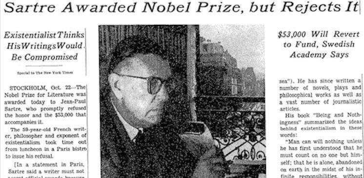 Αρνητής… Νόμπελ ονόματι Jean Paul Sartre