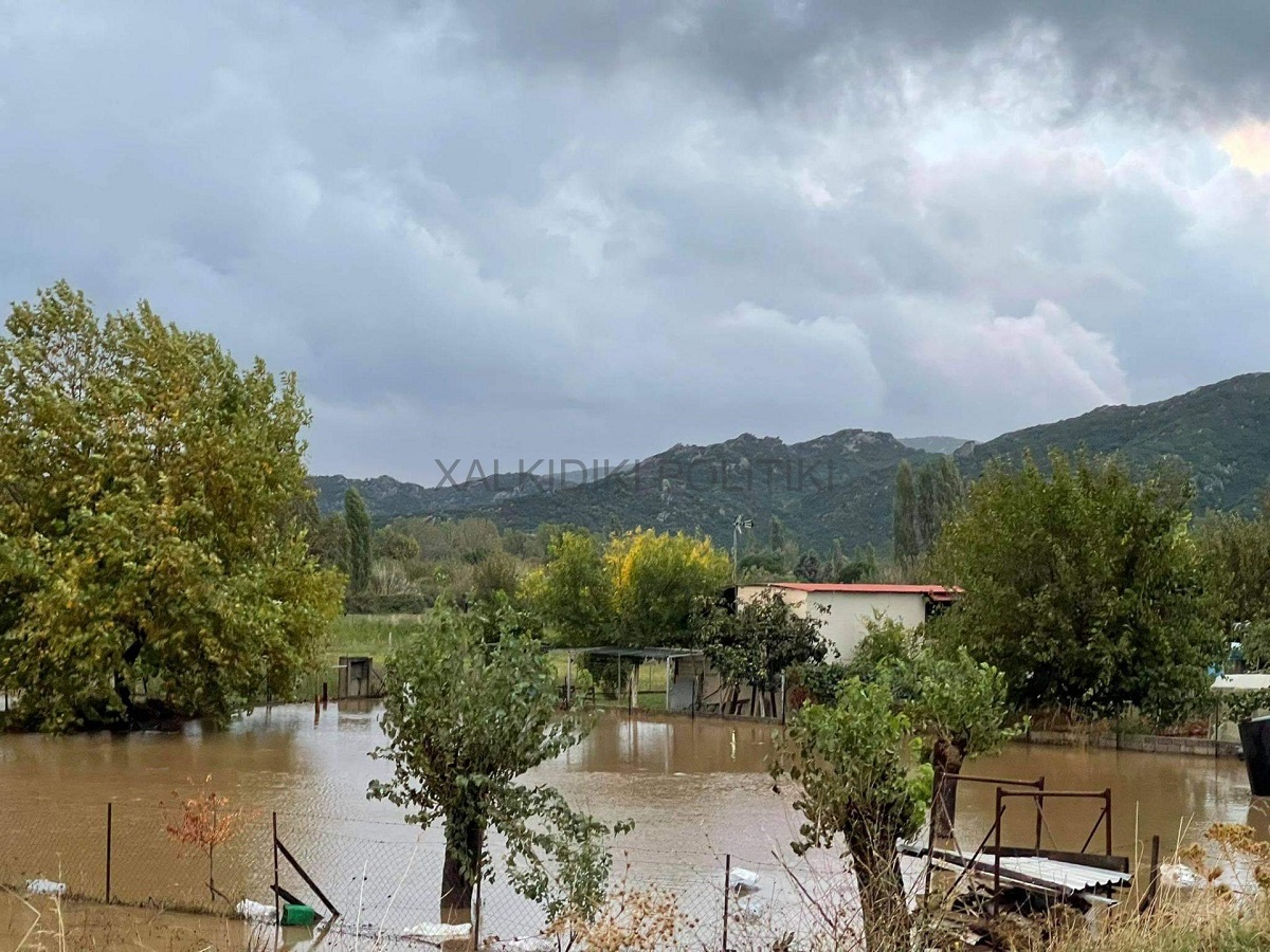 Στο έλεος της «Αθηνάς» η Συκιά Χαλκιδικής – Πλημμύρες σε σπίτια και δρόμους (ΦΩΤΟ)