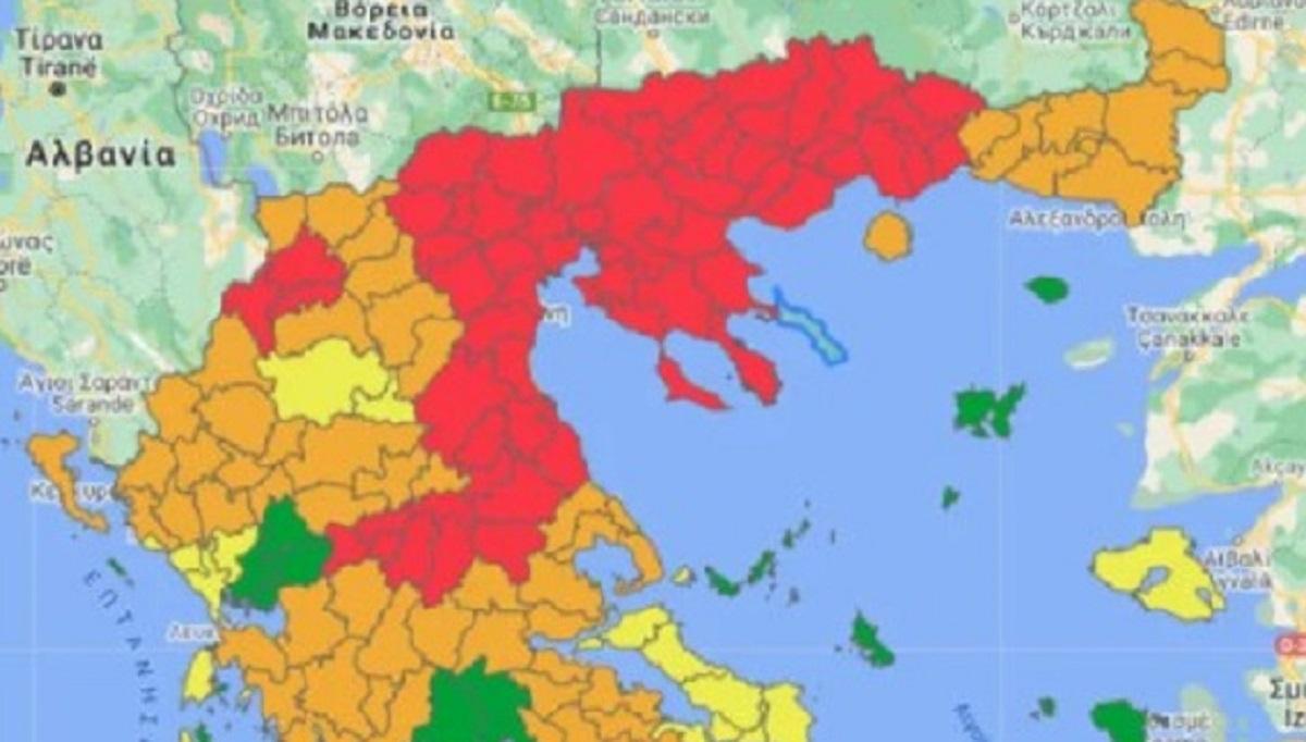 Νέος επιδημιολογικός χάρτης: Στο «κόκκινο» Σέρρες και Καρδίτσα (ΦΩΤΟ)
